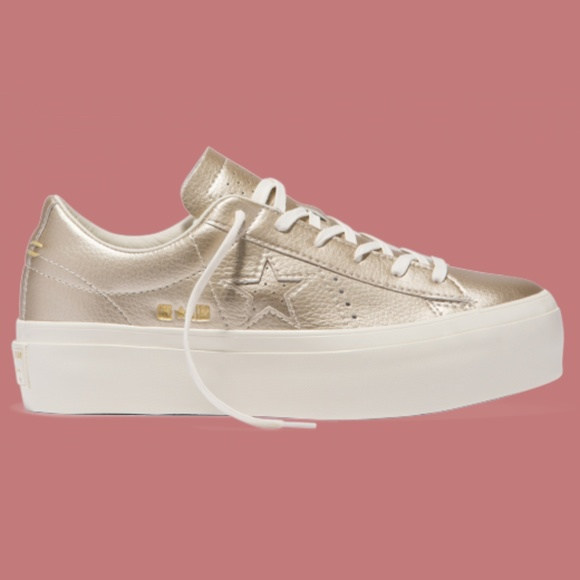 finest selection 683be 9dd53 Converse One Star Platform Sneakers Gold Leather